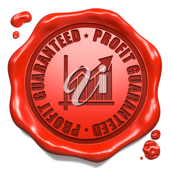 Profit Guaranteed Slogan with Growth Chart Icon - Stamp on Red Wax Seal Isolated on White. Business Concept.