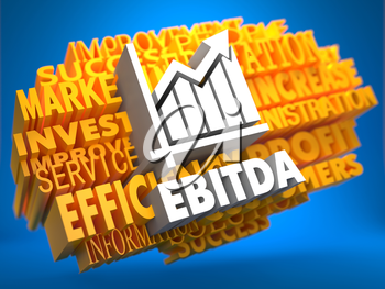 EBITDA with Growth Chart Icon on Yellow WordCloud on Blue Background.
