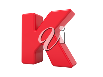 Red 3D Plastic Letter K Isolated on White.