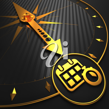 Golden Calendar with Stopwatch Icon on Black Compass.