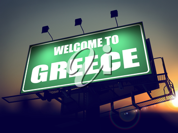 Welcome to Greece - Green Billboard on the Rising Sun Background.
