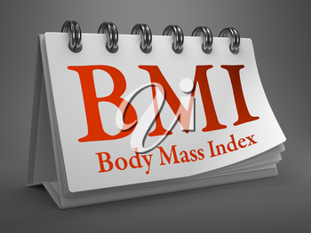 BMI - Body Mass Index - Red Text on White Desktop Calendar.