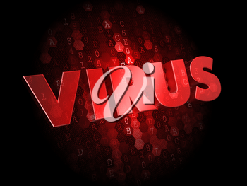 Virus - Red Color Text on Dark Digital Background.
