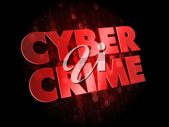 Cyber Crime - Red Color Text on Dark Digital Background.