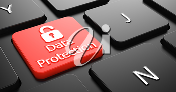 Data Protection Text with Padlock Icon - Red Button on Black Computer Keyboard.