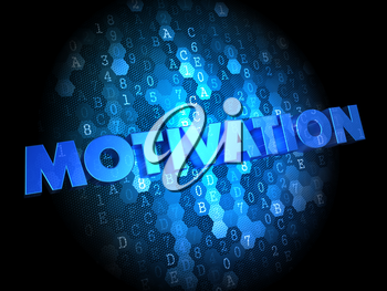 Motivation - Text in Blue Color on Dark Digital Background.