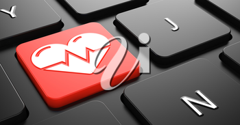Heart with Cardiogram Line on Red Button on Black Computer Keyboard.