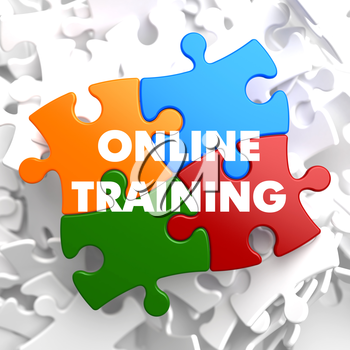Online Training on Multicolor Puzzle on White Background.