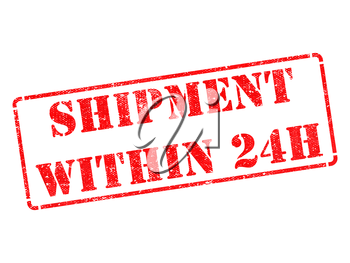 Shipment within 24h on Red Rubber Stamp Isolated on White.