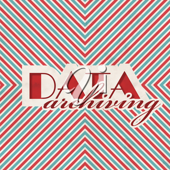 Data Archiving Concept on Red and Blue Striped Background. Vintage Concept in Flat Design.