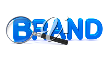 Blue word Brand with Magnifying Glass on White.