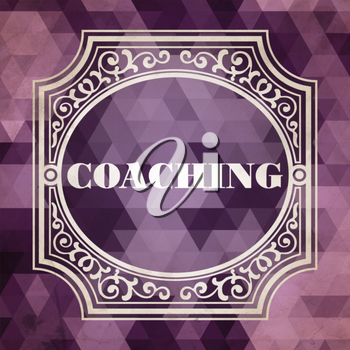 Coaching Concept. Vintage design. Purple Background made of Triangles.