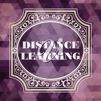 Distance Learning Concept. Vintage design. Purple Background made of Triangles.