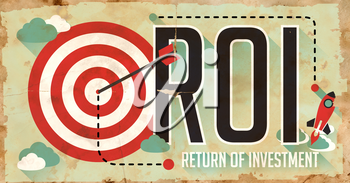 ROI Concept. Grunge Poster on Old Paper in Flat Design with Long Shadows.