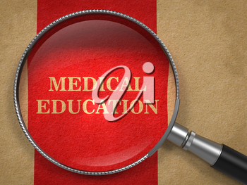 Medical Education concept. Magnifying Glass on Old Paper with Red Vertical Line Background.