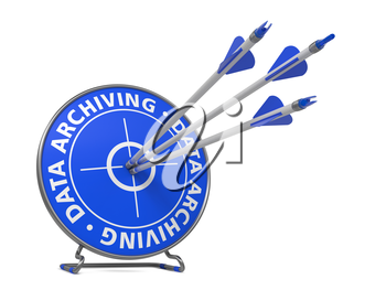 Data Archiving Concept. Three Arrows Hit in Blue Target.