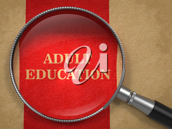 Adult Education concept. Magnifying Glass on Old Paper with Red Vertical Line Background.