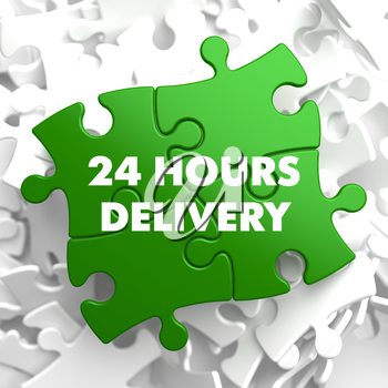 24 hours Delivery on Green Puzzle on White Background.