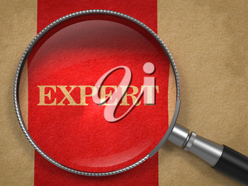 Expert. Magnifying Glass on Old Paper with Red Vertical Line Background.