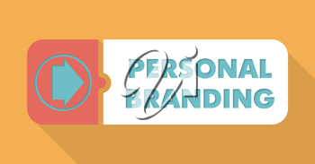 Personal Branding Button in Flat Design with Long Shadows on Orange Background.
