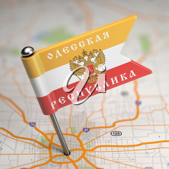 Small Flag of Odessa People's Republic- Sticked in the Map Background with Selective Focus.