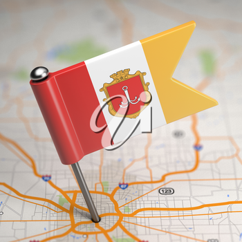 Small Flag of Odessa Sticked in the Map Background with Selective Focus.