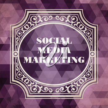 Social Media Marketing Concept. Vintage design. Purple Background made of Triangles.