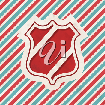 Security Concept with Icon Shield on Red and Blue Striped Background. Vintage Concept in Flat Design.