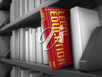 Legal Education - Red Book on the Black Bookshelf between white ones. Innovation Concept.