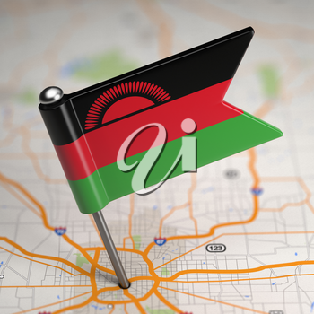 Small Flag Malawi on a Map Background with Selective Focus.