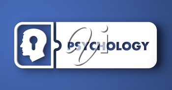 Psychology Concept. White Button on Blue Background in Flat Design Style.