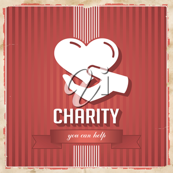 Charity with Heart in Hand and slogan on ribbon on Red Striped Background. Vintage Concept in Flat Design.