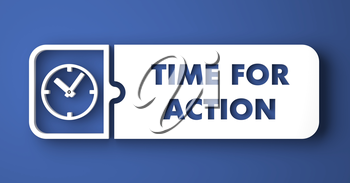 Time For Action Concept. White Button on Blue Background in Flat Design Style.