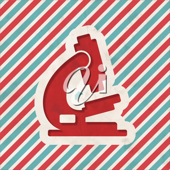 Microscope Icon on Red and Blue Striped Background. Vintage Concept in Flat Design.