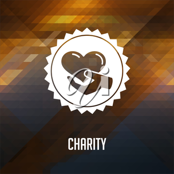 Charity Concept. Retro label design. Hipster background made of triangles, color flow effect.