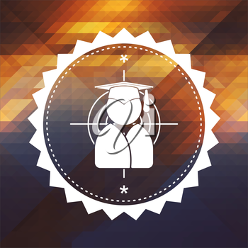 Icon of Target with Human Silhouette in Grad Hat. Retro label design. Hipster background made of triangles, color flow effect.
