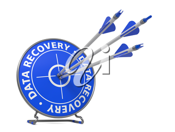 Data Recovery Concept. Three Arrows Hit in Blue Target.