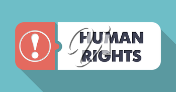 Human Rights on Blue in Flat Design with Long Shadows.