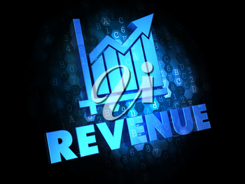Revenue with Growth Chart - Blue Color Text on Dark Digital Background.