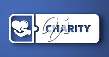 Charity Concept. White Button on Blue Background in Flat Design Style.