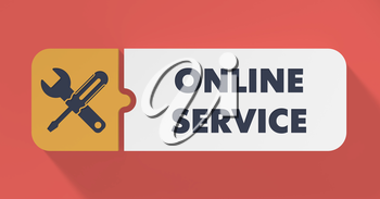 Online Service Concept in Flat Design with Long Shadows.