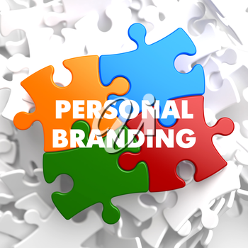 Personal Branding on Multicolor Puzzle on White Background.