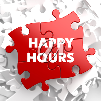 Happy Hours on Red Puzzle on White Background.