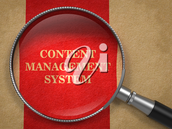 Content Management System Through Magnifying Glass on Old Paper with Red Vertical Line Background.