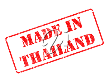 Made in Thailand - inscription on Red Rubber Stamp Isolated on White.