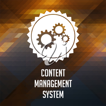 Content Management System Concept. Retro label design. Hipster background made of triangles, color flow effect.