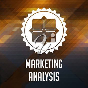Marketing Analysis Concept. Retro label design. Hipster background made of triangles, color flow effect.