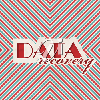 Data Recovery Concept on Red and Blue Striped Background. Vintage Concept in Flat Design.