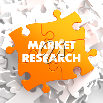 Market Research on Orange Puzzle on White Background.