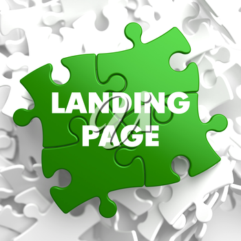 Landing Page on Green  Puzzle on White Background.